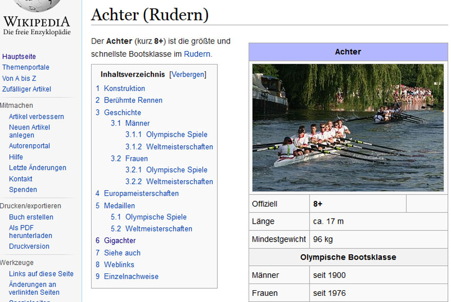 Wikipedia-Screenshot vom Achter-Artikel